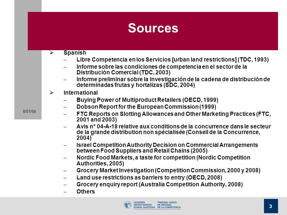 Sources Spanish. Libre Competencia en los Servicios [urban land restrictions] (TDC, 1993)